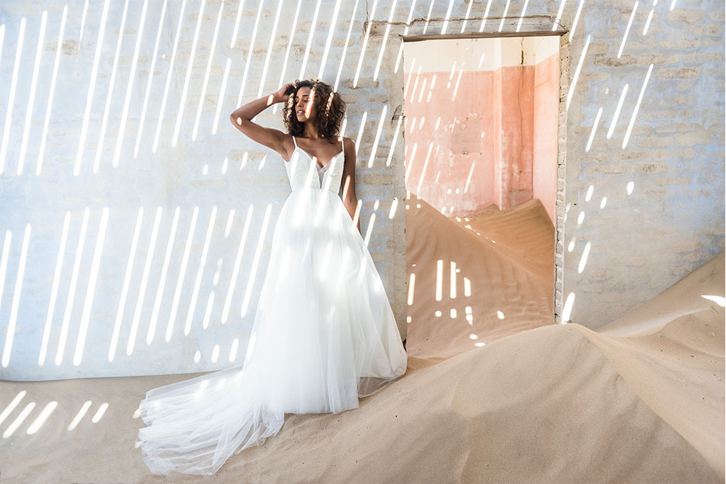 Tulle skirt with beaded bodice and plunging neckline