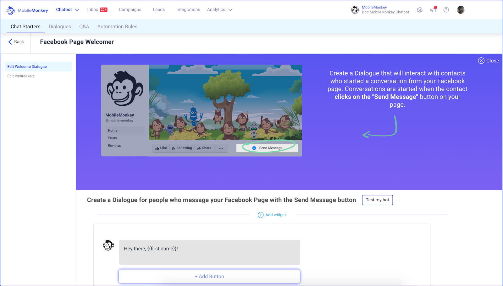 Facebook Autoresponder Page Welcomer chatbot example