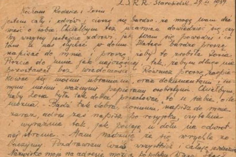 Письмо пленного домой, в Польшу, 1939