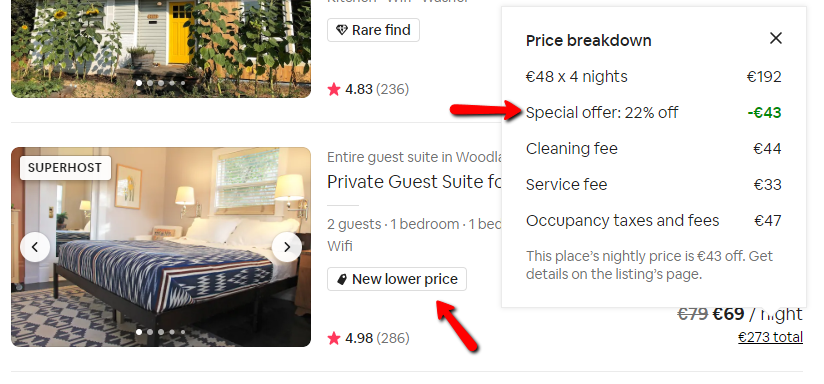 example showing special offer tagging in the Airbnb search results
