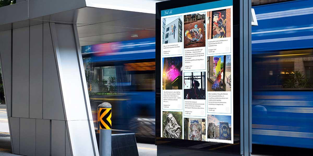 Display social media walls on digital signage. Source: walls.io Digital signage content - The Rev
