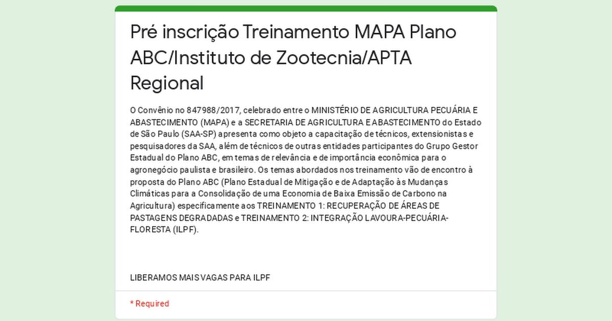 O Instituto de Zootecnia e a APTA Regional convidam para participar de Treinamento Técnico em EAD nos temas: