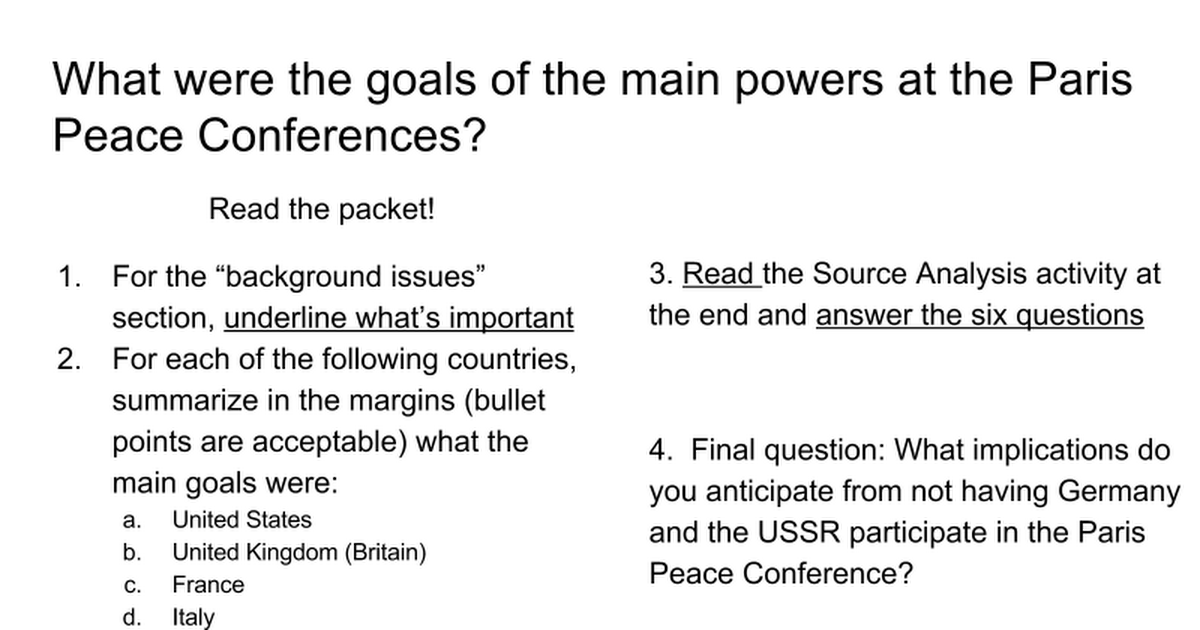 Aims and Goals of the Paris Conference Participants - Google