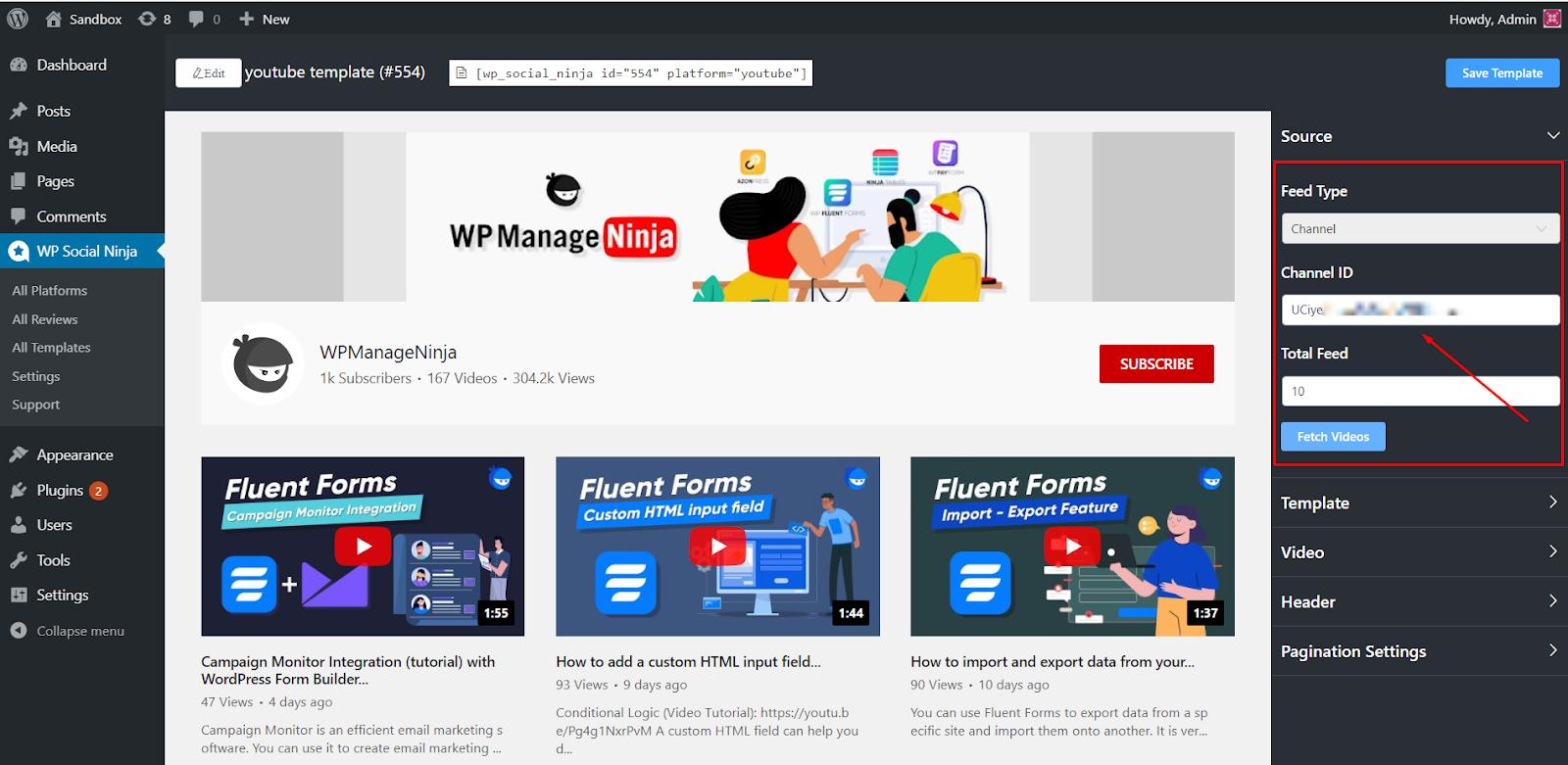 YouTube feed Channel ID
