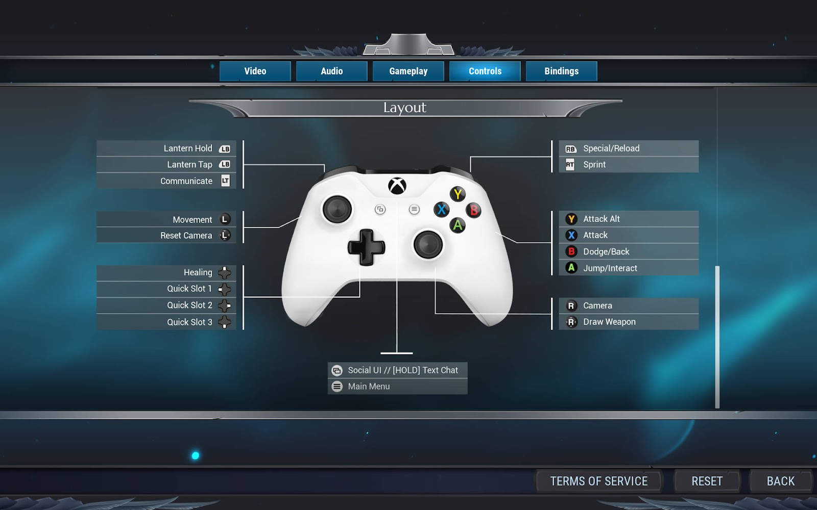 A gamepad image showing the layout of the controls.