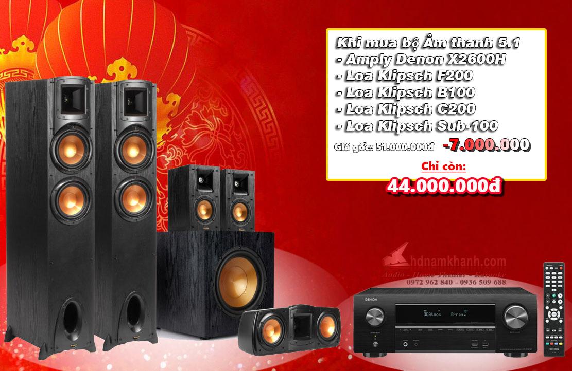 Bộ 5.1 Amply Denon X1600H - Loa 5.1 Klipsch 620F - 2