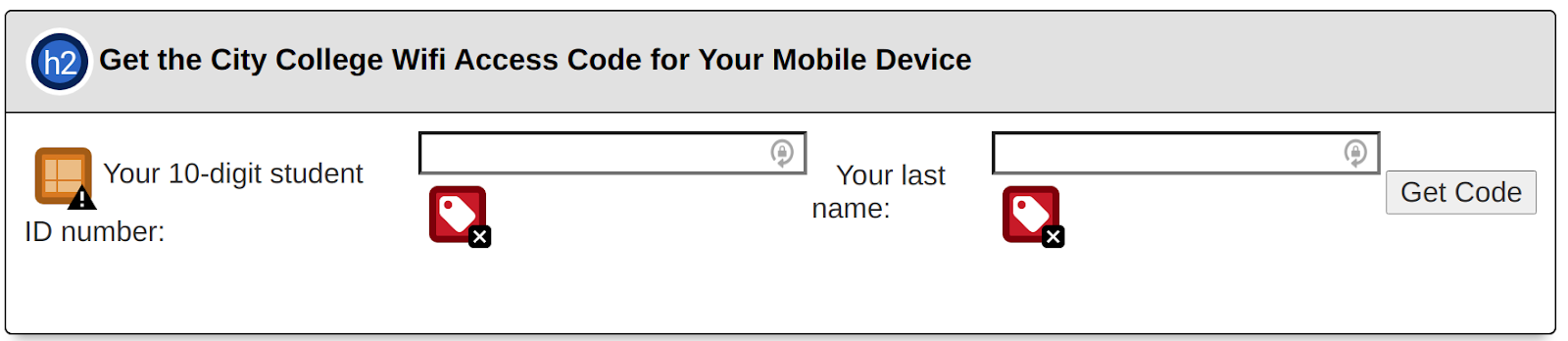 Form to get Wifi access with WAVE errors for missing form labels