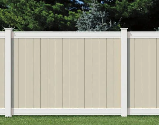 Tan and white vinyl fence colors