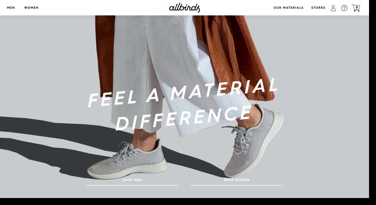 All Birds shoe company website screenshot
