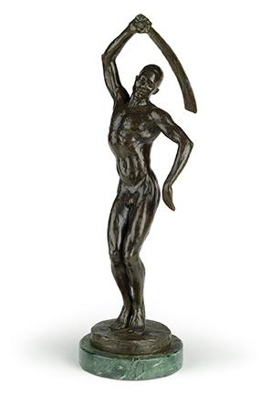 Feral Benga, cast bronze, with a dark brown patina, modeled in 1935, cast in 1986. Sold June 4, 2020, in African-American Fine Art for $629,000, a record for the artist.