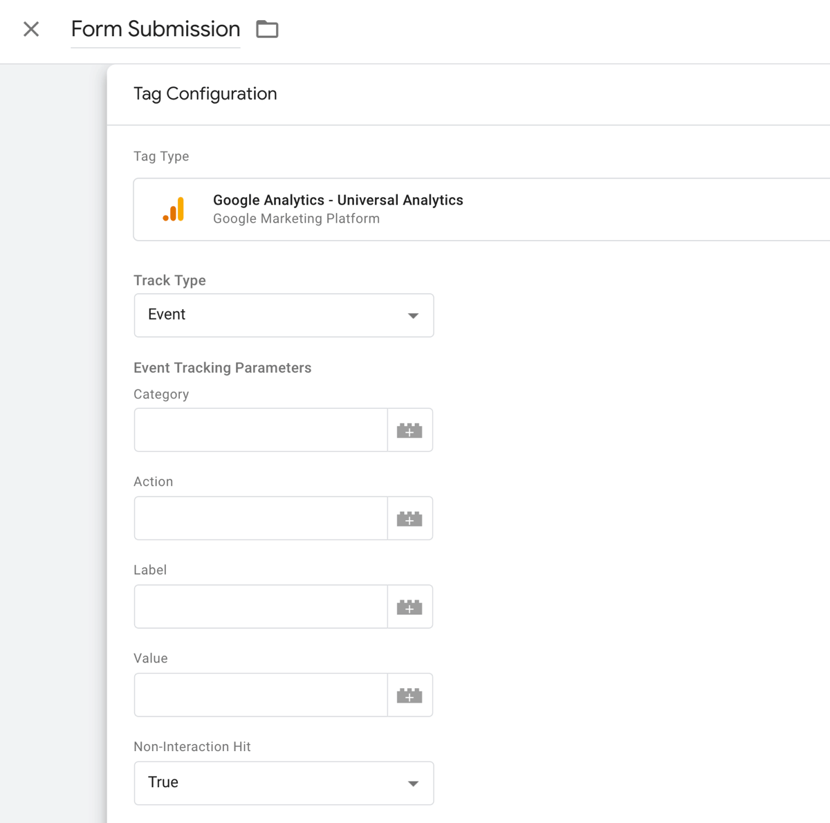 Điền các trường cần thiết trong Google tag manager để theo dõi