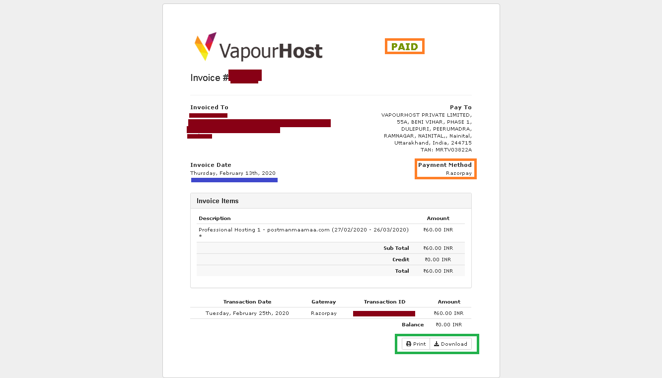 Vapourhost Paid Invoice PDF Check of February 2020
