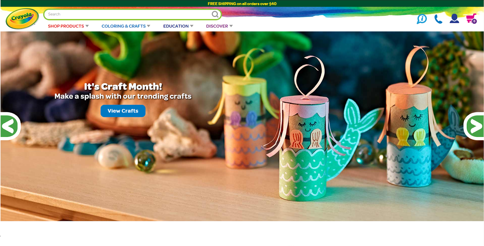 screenshot of Crayola website