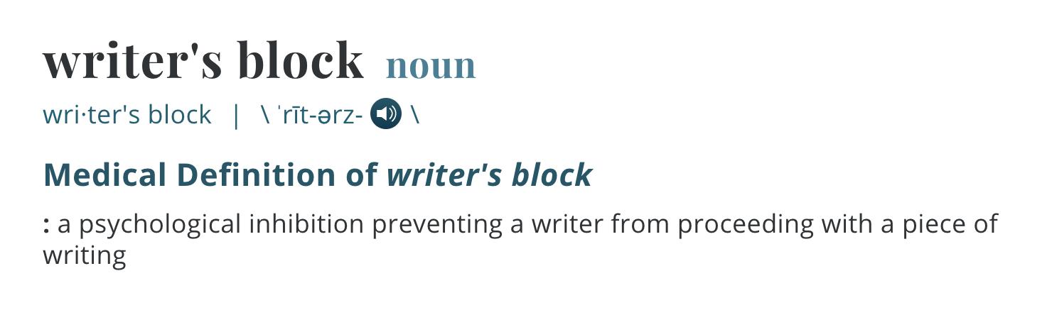 "Description of the term ""writer's block."""
