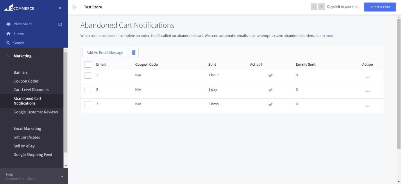 BigCommerce abandoned cart notifications