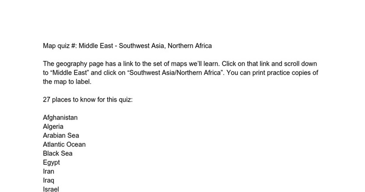 Map quiz Middle East  Southwest Asia Northern Africa  Google Docs