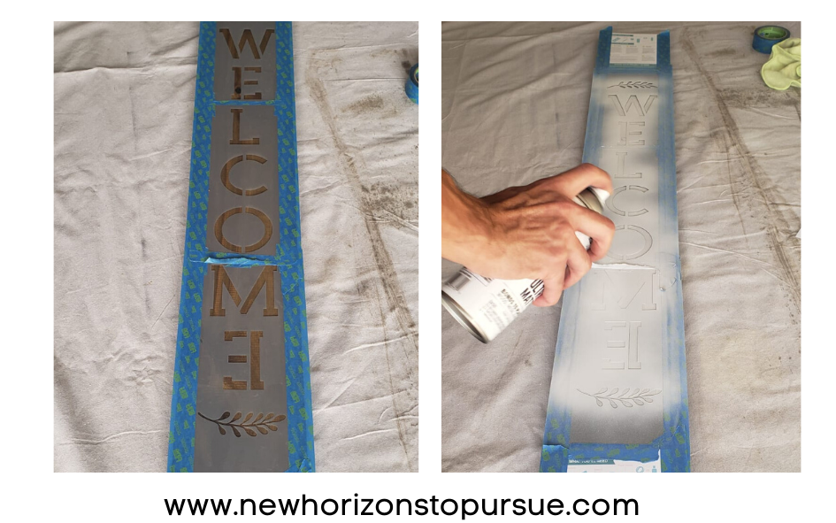 Cubre la superficie con cinta y utiliza la pintura spray con 25 cm de distancia.