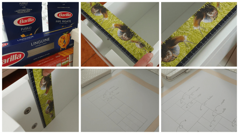 Measure the drawer and sketch out the compartments on paper