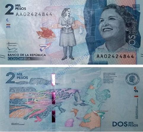 Resultado de imagen para billete de 2000 pesos colombianos