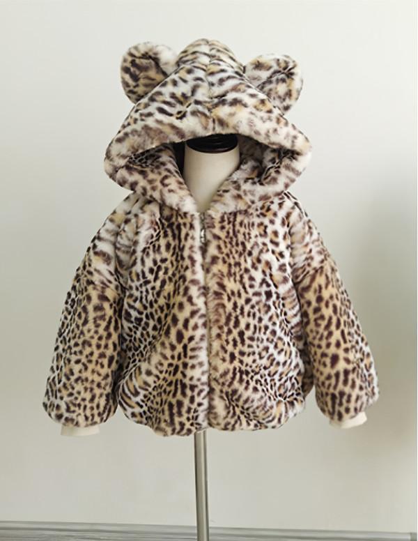Toddler Fluffy Zipper Jacket with Bear Ears