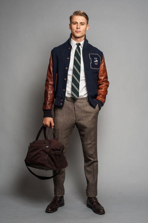 preppy leather jacket