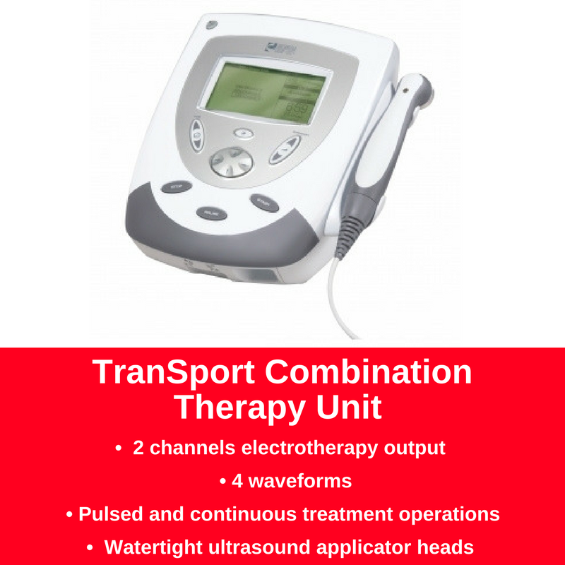 The Transport Combo Therapy Unit Provides both ultrasound therapy and e-stim in one unit