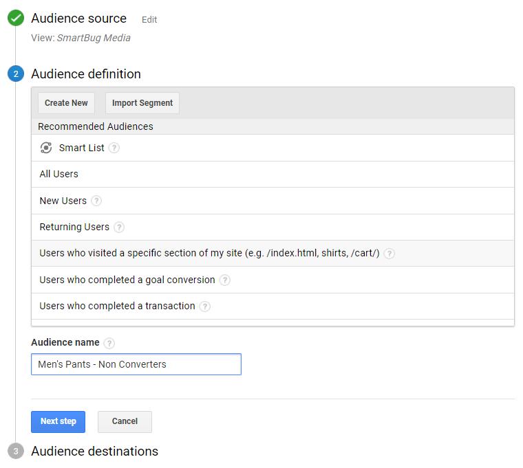 Google Audience Builder
