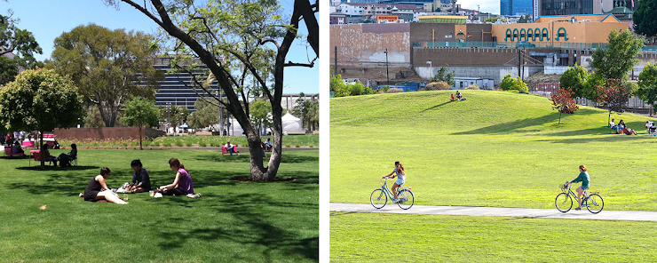 left: Grand Park, photo via LA Mag.   right: Los Angeles State Historic Park, photo via CA State Parks.