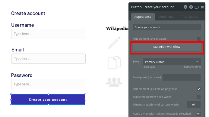 Creating a workflow to register a user account in Bubble's no-code tool