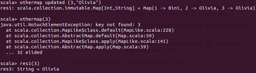 Updating in an immutable map