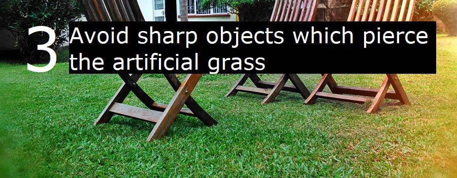 3. Avoid sharp objects when pierce the artificial grass