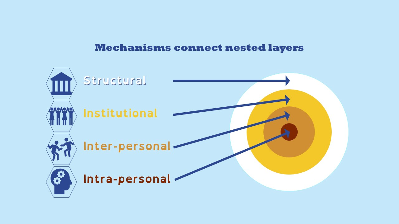 Mechanisms connect nested layers  (starting with an outer circle, moving into smaller circles)- structural, institutional, inter-personal, intra-personal.