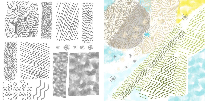 different brush strokes