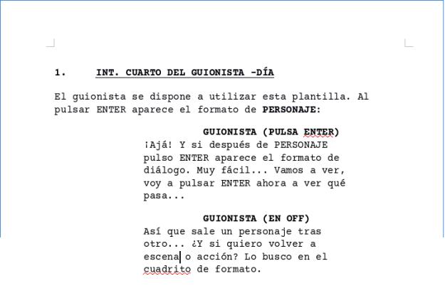 Ejemplo de página con formato de guion.