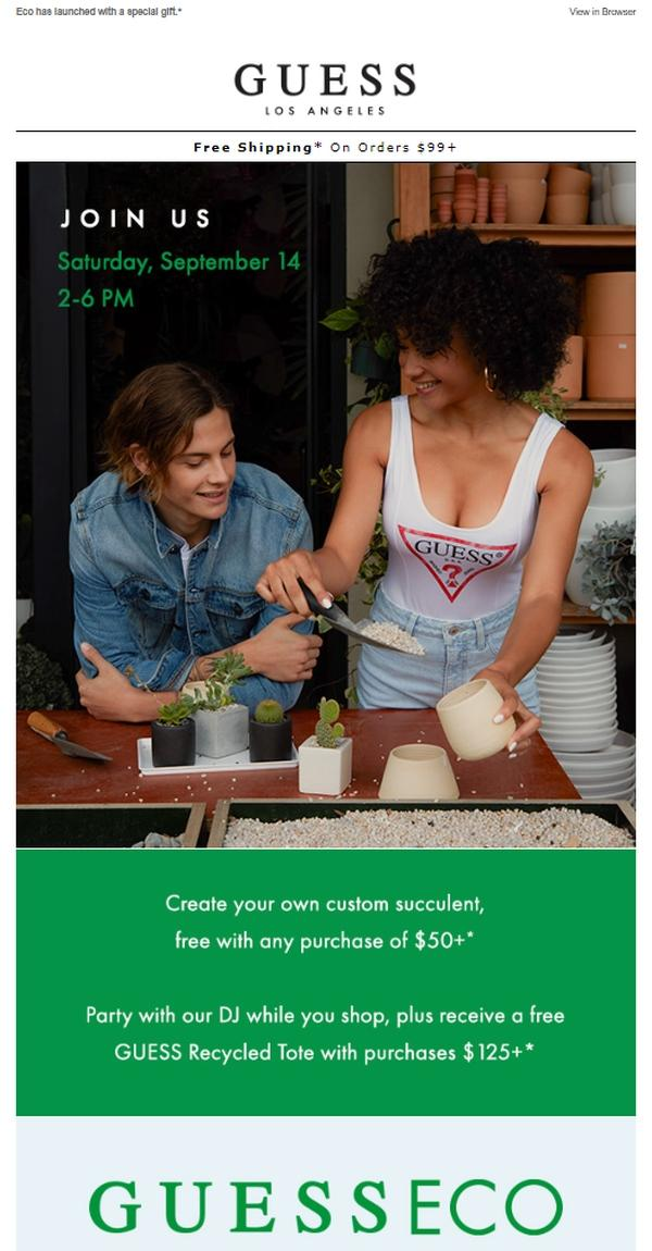 Although red is the classic color of the Guess logo—as seen on the model's tank top—green dominates the email.