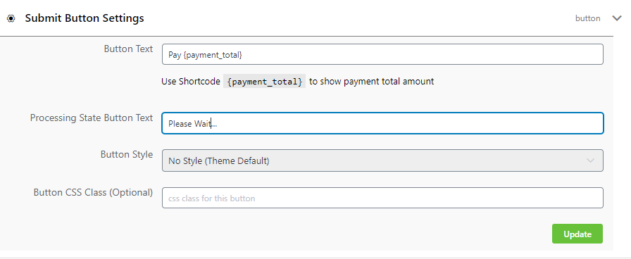 wppayform submit button settings
