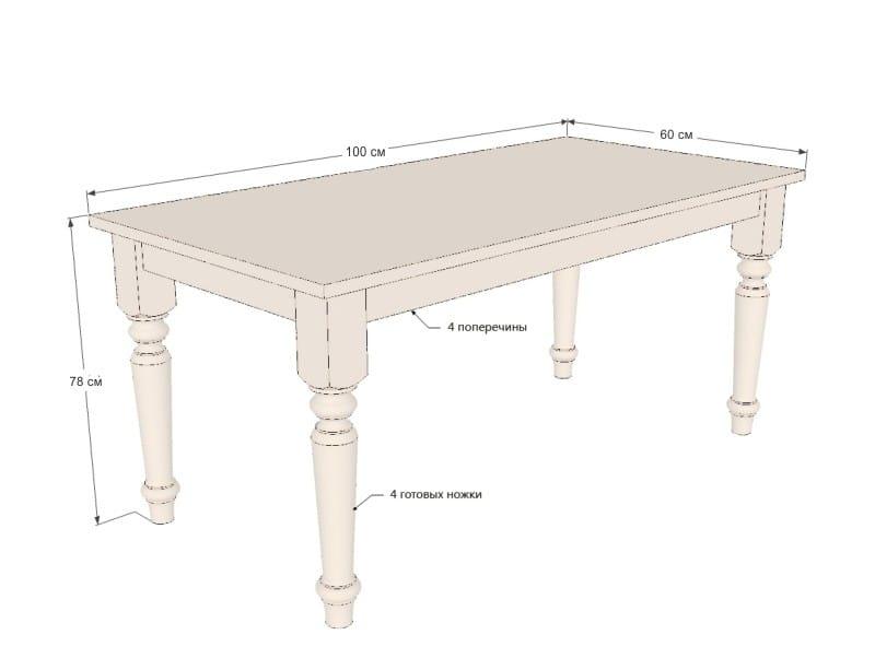 Кухонный стол своими руками - чертеж