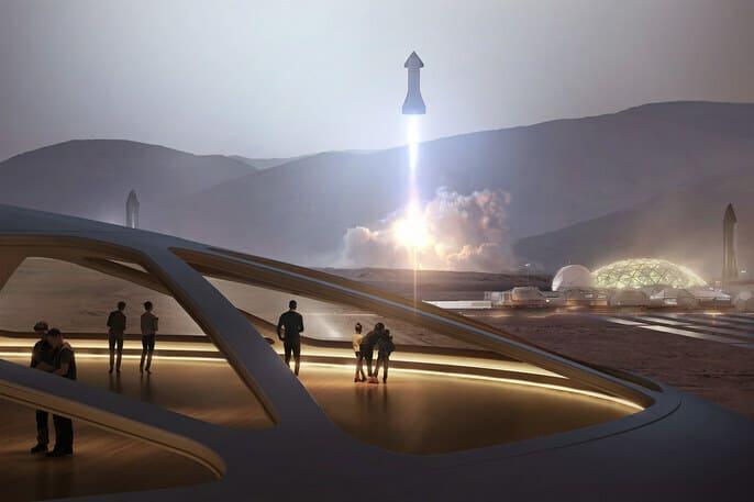 Despegue de una nave Starship en una base lunar