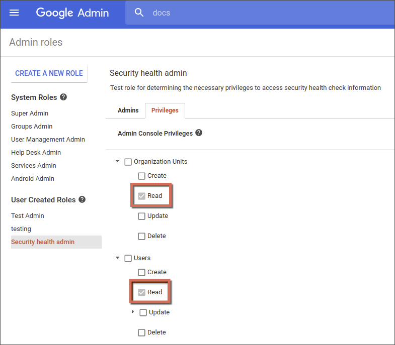 Admin privileges for the security center - G Suite Admin Help