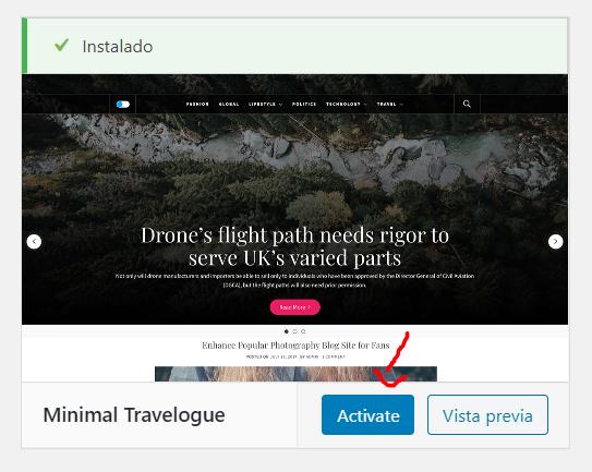 Tema Travel en WordPress para hacer un blog de viajes