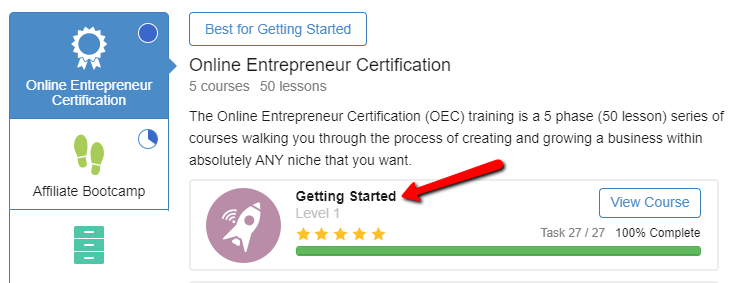 Wealthy affiliate entrepreneur certification 100% completed.