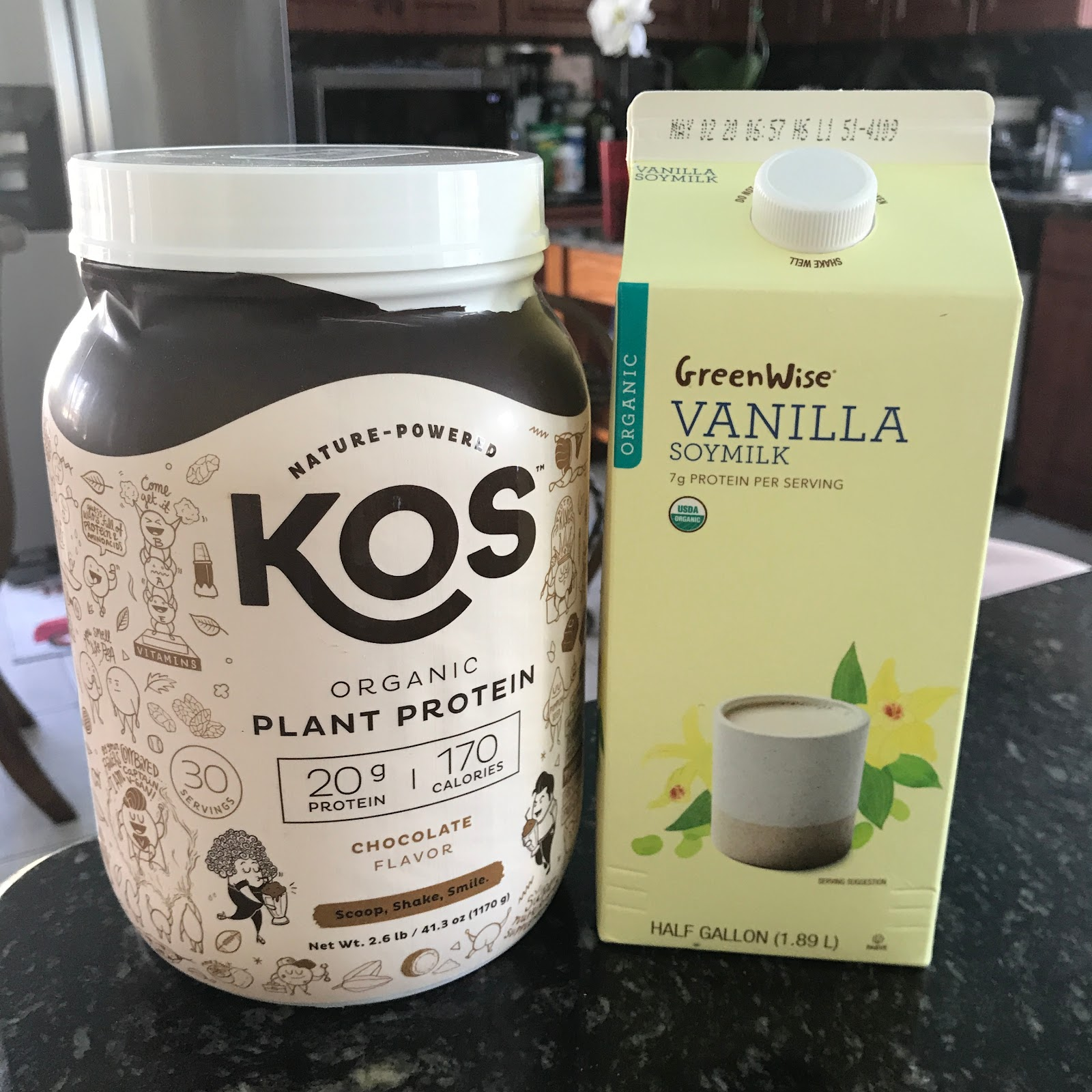 KOS plant protein with soy milk.