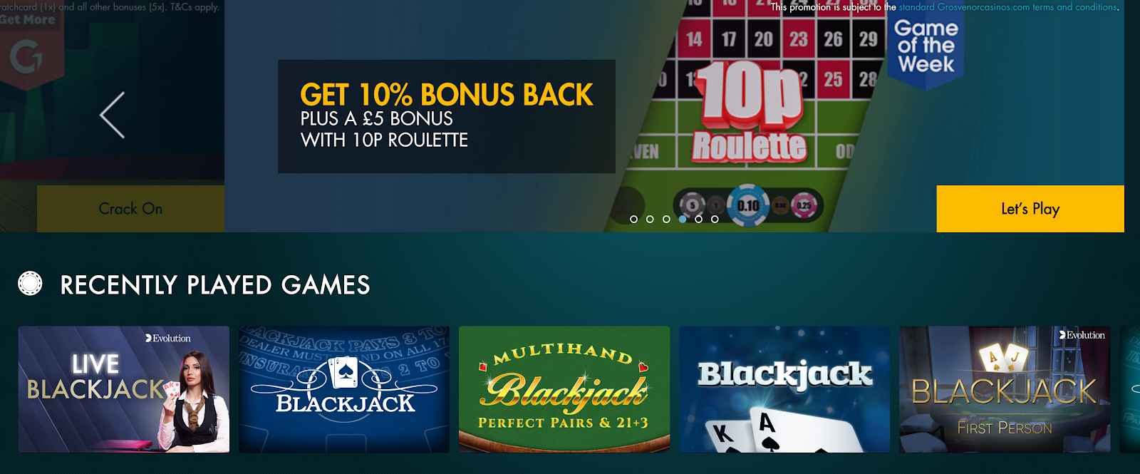 Grosvenor Casinos features some solid payouts