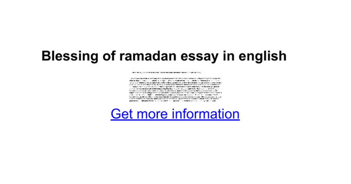 blessing of ramadan essay in english google docs