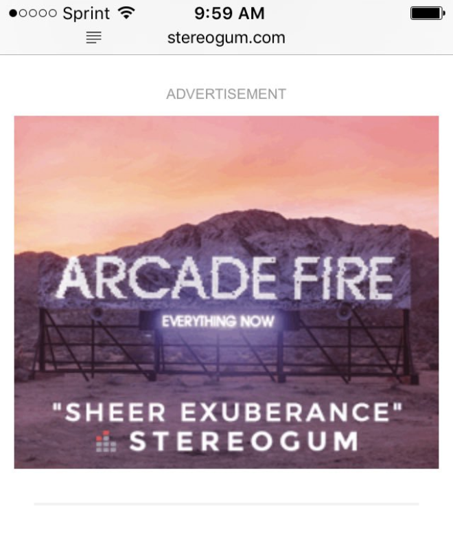Arcade Fire used banner ads on Stereogum's website using quotes from an unfavorable review.