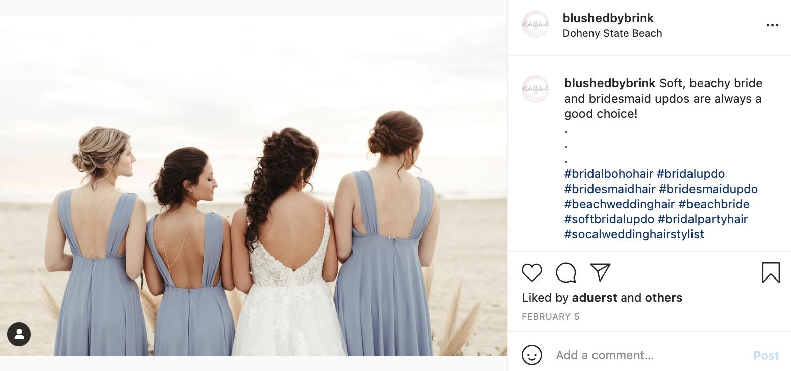bridesmaids beach wedding updo