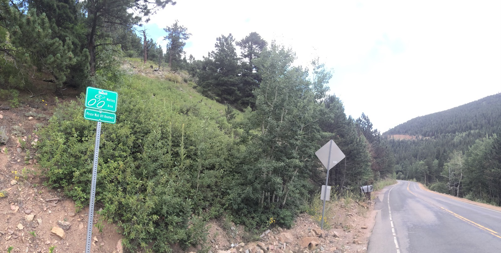 Cycling Left Hand Canyon - roadway sign at Sawmill Road