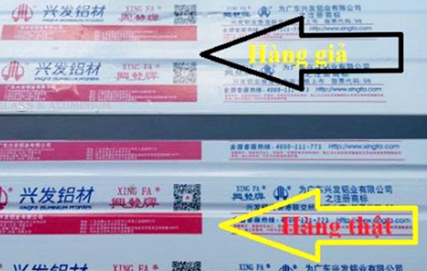 Nhôm Xingfa thường xuyên bị giả mạo nhãn đỏ
