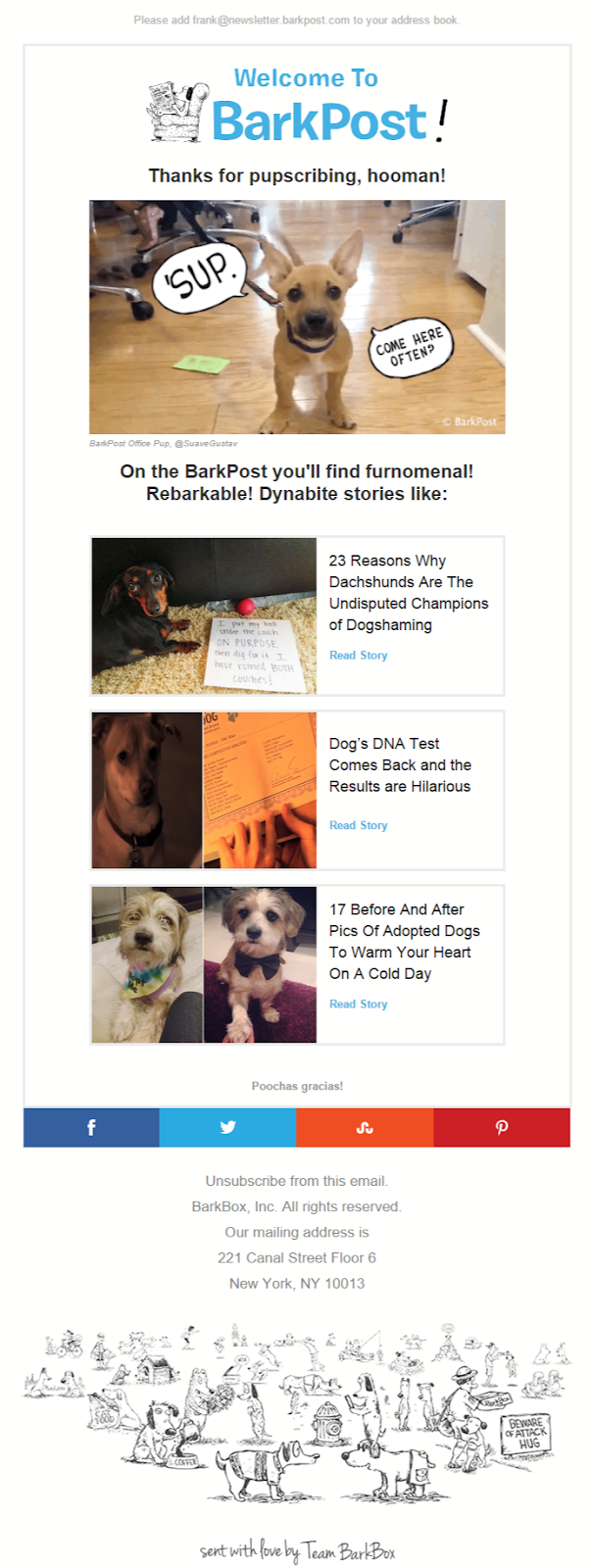 Welcome to BarkPost Thank you for subscribing email
