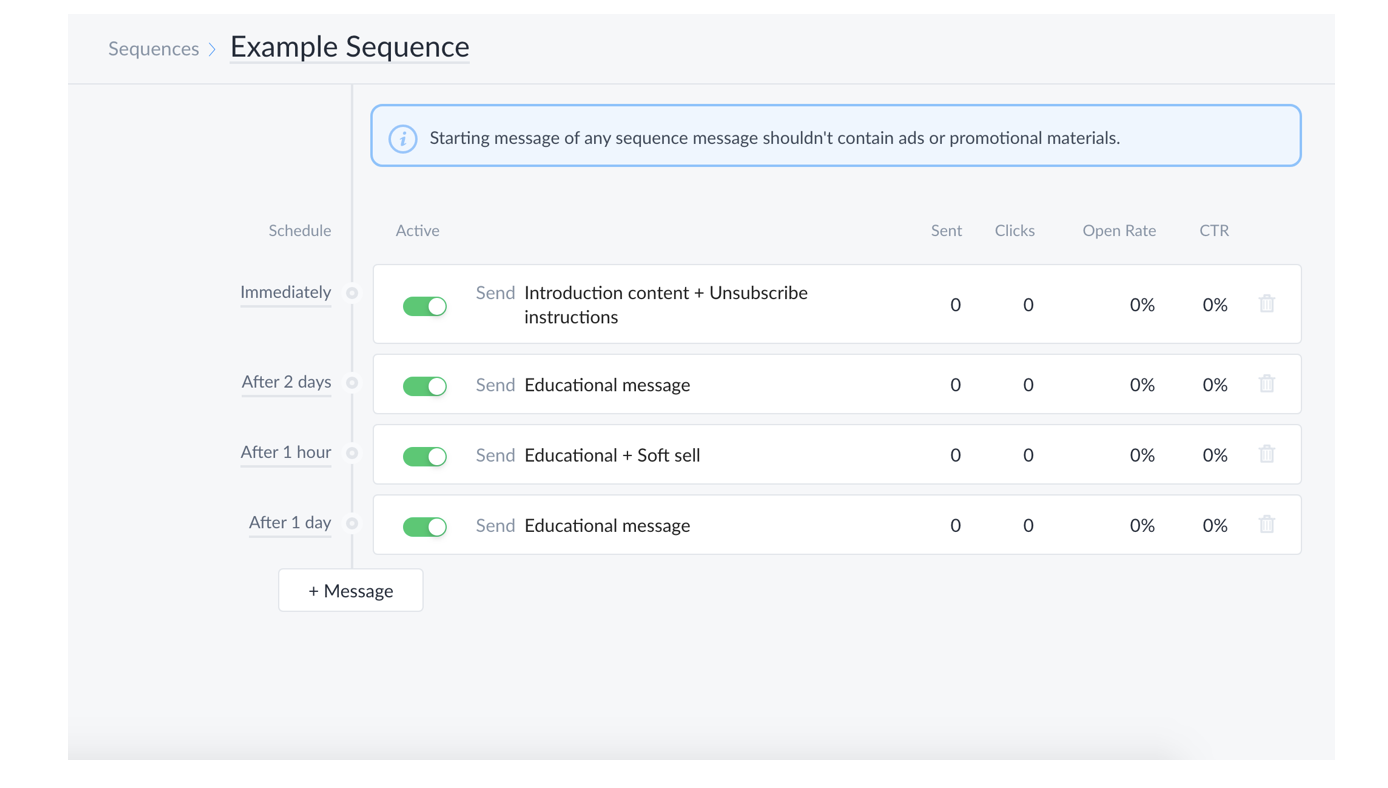 Setting up message sequence in ManyChat
